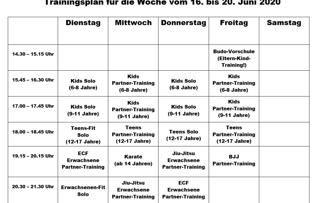 Trainingsplan vom 16.-20. Juni 2020 mit Partner-Training!
